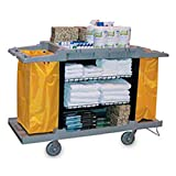 Janico Inc Housekeeping Hospitality Cleaning Service Cart, Adjustable Shelves, Molded Hooks and Holders, 8 Inch Wheels with Locking Brakes, Grey