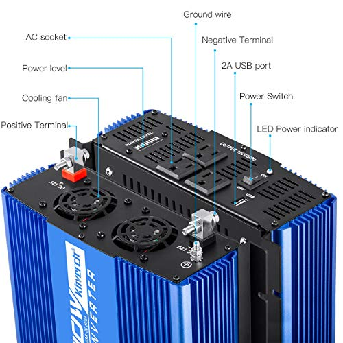Kinverch 2000W Continuous/ 4000W Peak Power Inverter 3 AC Outlets 12V to 110V Car Converter with USB Port by kinverch (Image #2)