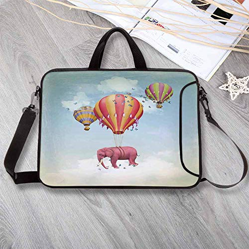 "Elephants Decor Printing Neoprene Laptop Bag,Pink Elephant in The Sky with Balloons Illustration Daydream Fairytale Travel Decorative Laptop Bag for 10 Inch to 17 Inch Laptop,13.8""L x 10.2""W x 0.8""H ()"