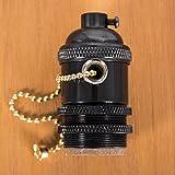 Walcut E26/ E27 Pull Chain Solid Brass Industrial Light Socket Vintage Edison Pendant Lamp (Pearl Black)