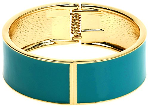 Lova Jewelry Bright Steel Blue Turquoise Gold Tone Hinge Sleek Metal Bangle Bracelet