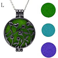 Hunputa Necklace,Vintage Hollow out Aroma Locket Essential Oil Diffuser Necklace Jewerly with Fragrance Pad (L)