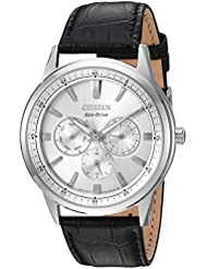 Citizen Mens Eco-Drive Quartz Stainless Steel and Leather Casual Watch, Color:Black (Model: BU2070-04A)