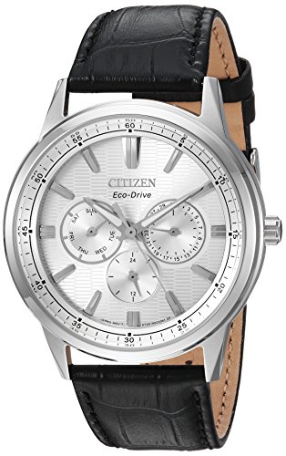Citizen Mens Black Dial Watch - Citizen Men's 'Eco-Drive' Quartz Stainless Steel and Leather Casual Watch, Color:Black (Model: BU2070-04A)