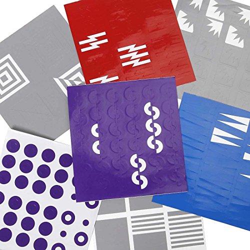 BMC Super Cute Simple Dual Sized 7pc Nail Vinyl Mixed Designs Manicure Art Sticker Bundle - Creative Shapes Set