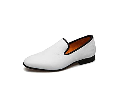 Wolven Handmade White One Piece Leather Shoes With Black Tpr Sole