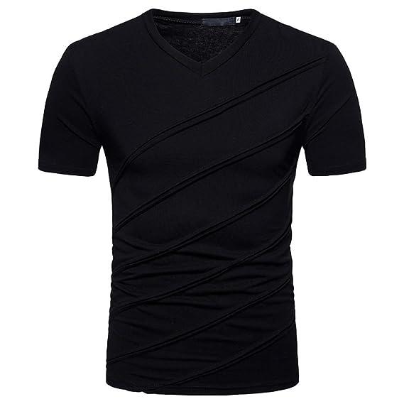 Yvelands Handsome T-Shirt Personalidad de la Moda para Hombres Casual Sólido Sólido Camiseta de