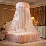 ieasysexy Ceiling Dome Fresh Bed Nets Student Bed Nets Princess Round Bed Net (Light Pink)