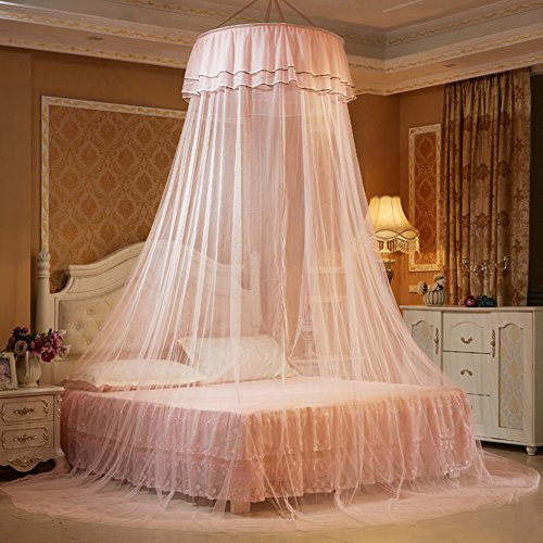 ieasysexy Ceiling Dome Fresh Bed Nets Student Bed Nets Princess Round Bed Net (Light Pink) by ieasysexy
