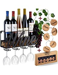 Wall Mounted Wine Rack - Bottle & Glass Holder - Cork Storage - Store Red, White, Champagne - Comes with 6 Cork Wine Charms - Home & Kitchen Décor - Designed by Anna Stay, Wine