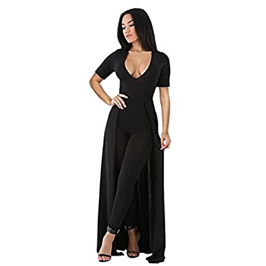 4c09062f2fa OUR WINGS Womens Sexy Deep V Neck Short Sleeve Overlay Maxi Skirt Slim  Bodycon Party Club