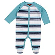 7 For All Mankind Boy's Long Sleeve Crewneck Footed Pajama Onesie Back Pockets Deep Well Stripe 3-6 Months