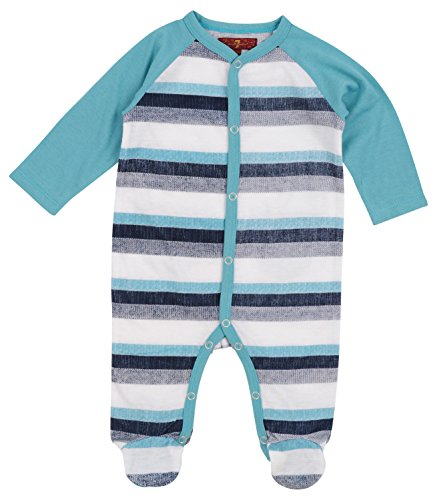 Footed One Piece Bodysuit - 7 For All Mankind Boy's Long Sleeve Crewneck Footed Pajama Onesie Back Pockets Deep Well Stripe 3-6 Months