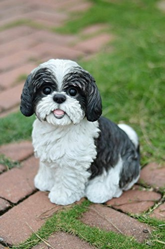 Hi-Line Gift Ltd Sitting Dog – Shih Tzu black and White