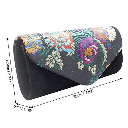 Clutch Bridal Print Women Bag Red Wiwsi Handbag Embroidery Black Floral Party Retro Purse dq66B0