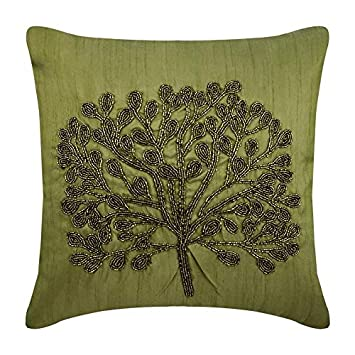 The HomeCentric Designer Green Throw Pillow Covers, Green Beaded Tree Botanical Pillows Cover, 16 x16 Pillow Covers Decorative, Square Silk Pillow Covers, Floral – Green Tree