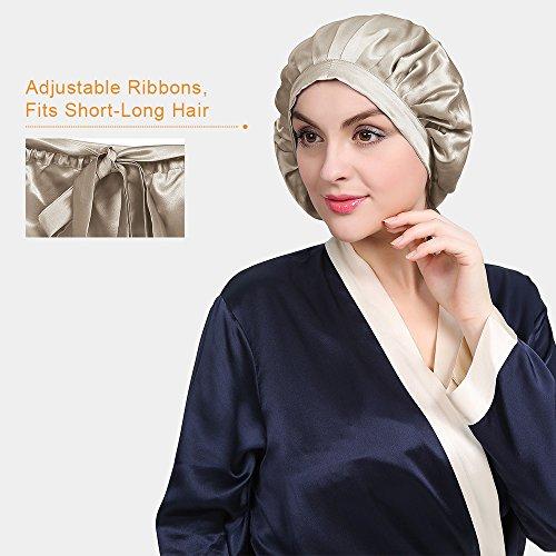 LilySilk Silk Sleep Cap for Women Traceless Half Black Elastic 100 Pure Mulberry Silk 19 Momme Flat Cap Sleeping for Hair Ivory by LilySilk (Image #7)