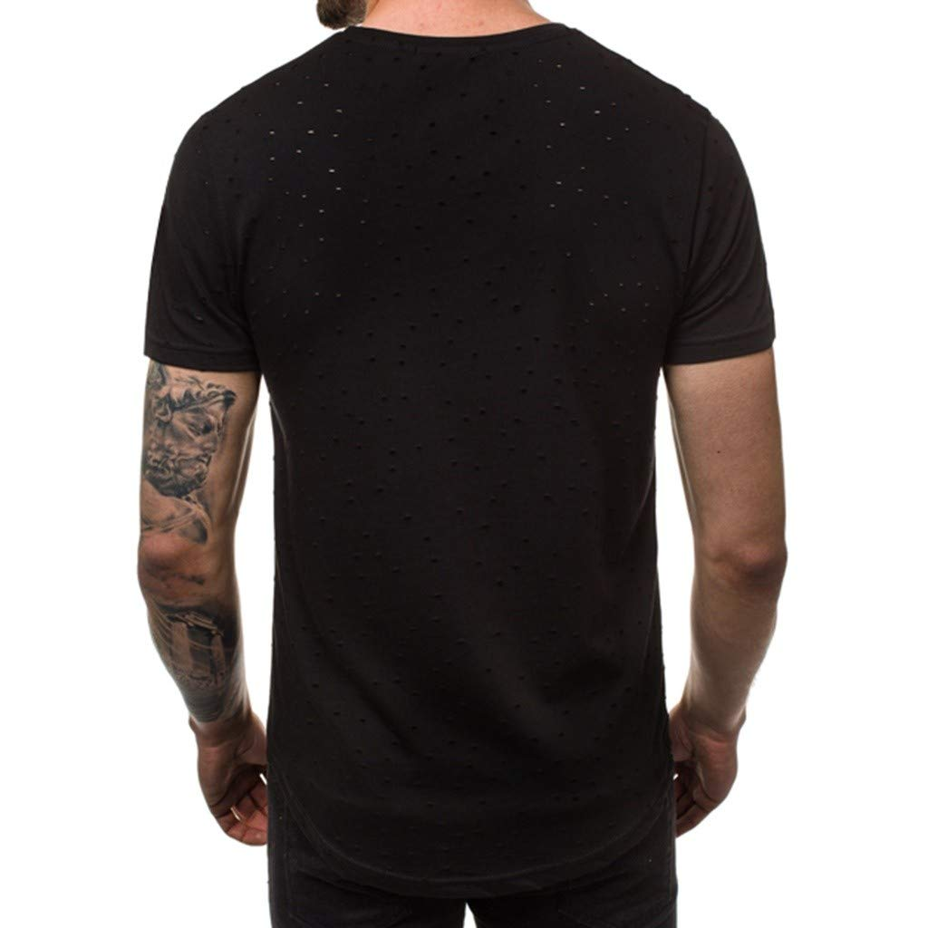Mens Summer Pure Hole Short Sleeve Fashion Comfort Blouse top