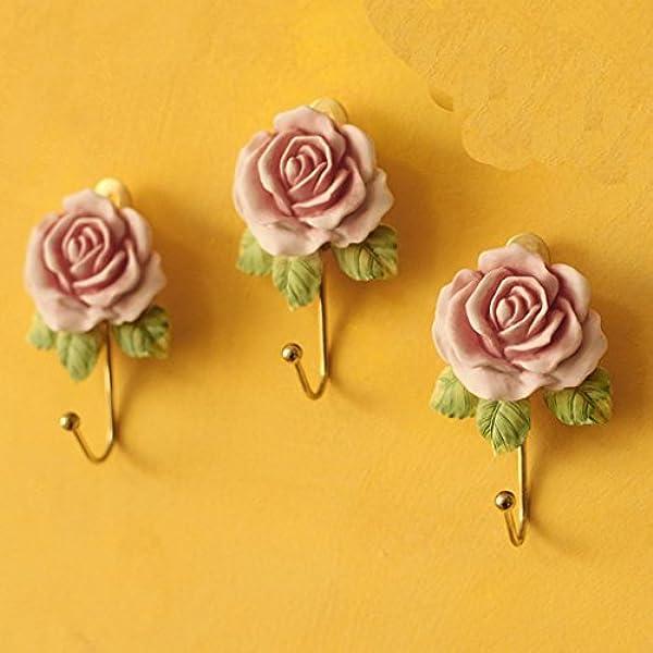 Antique Rose Pink Glass Facet Hook Brise de mer Shabby Chic Metal Wall Coat Rack Hooks