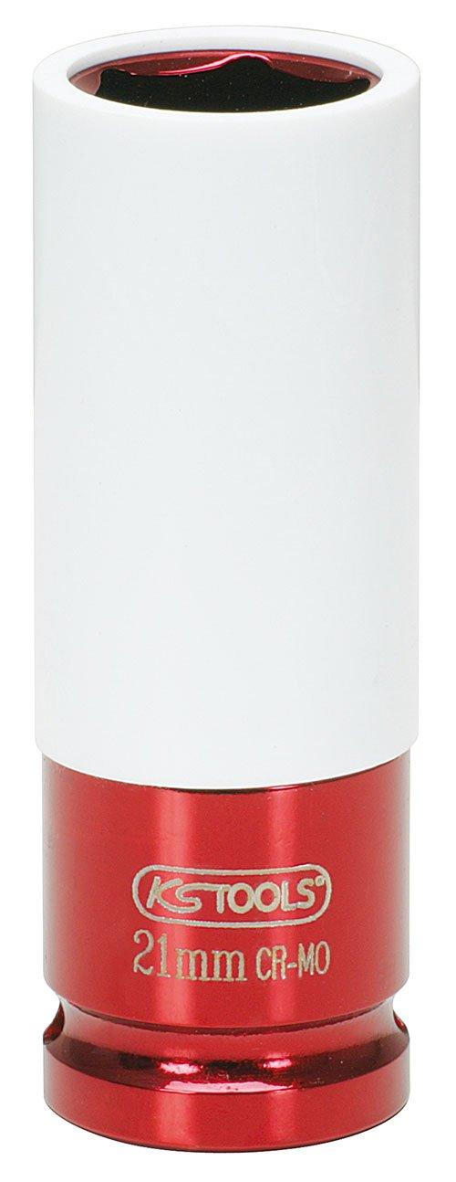 KS Tools 515.2021 - Llaves de vaso especial para ruedas, color rojo (21 mm, 1/2') 1/2)