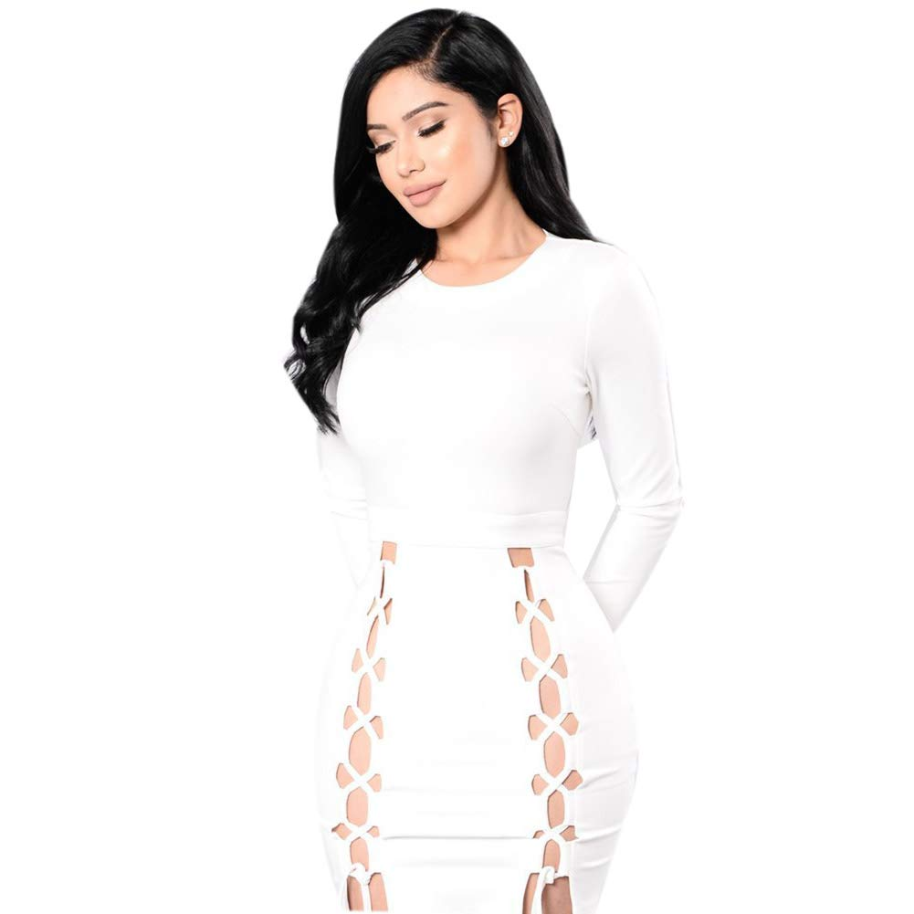 White Women's Sexy Slim Summer Hollow Bodycon Long Sleeves Lace up Mini Club Cocktail Dress