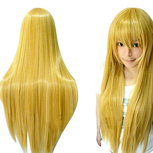 DEESEE(TM) 80CM Long Straight Cosplay Wig Multicolor Heat Resistant Full Wigs Cosplay wig (Yellow) (Adult Silver Werewolf Costume)