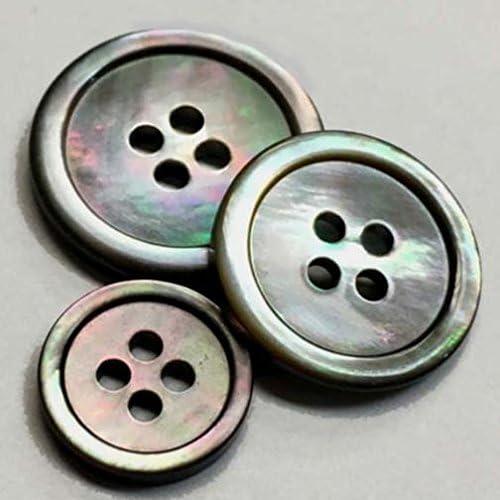 11 Piece Set Gray Ocean Pearl Buttons