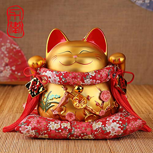 GE&YOBBY Cartoon Piggy Bank Ceramic Gold Lucky Cat Money Box with 3D Cherry Blossoms for Home Decoration Ideal Gift -b 22x20x25cm(9x8x10inch) ()