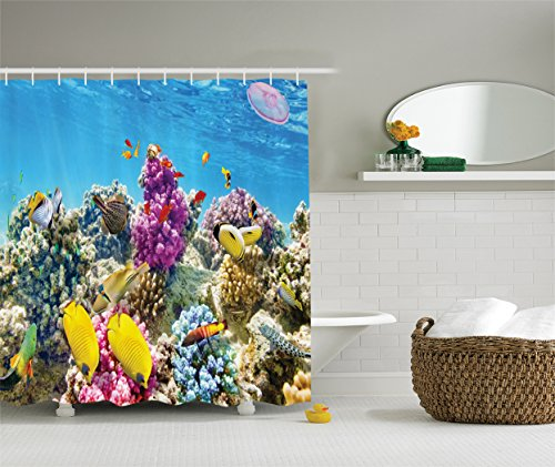 Ambesonne Ocean Decor Collection, Colorful Coral Reefs Exotic Fish School and Medusa Jellyfish at Lagoon Red Egyptian Sea Picture, Polyester Fabric Bathroom Shower Curtain, Lavender Yellow Aqua Blue (Rug Fish School Of)
