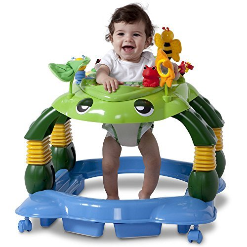 Delta Children Lil' Play Station Lights and Sounds 3-in-1 Activity Walker with 360-Degree Seat Rotation and 3-Position Height Adjustment, Mason the Turtle