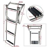 Amarine-made 3 Step Rib Ladder Stainless Steel Telescoping Swim Step Rubber Boat Ladder