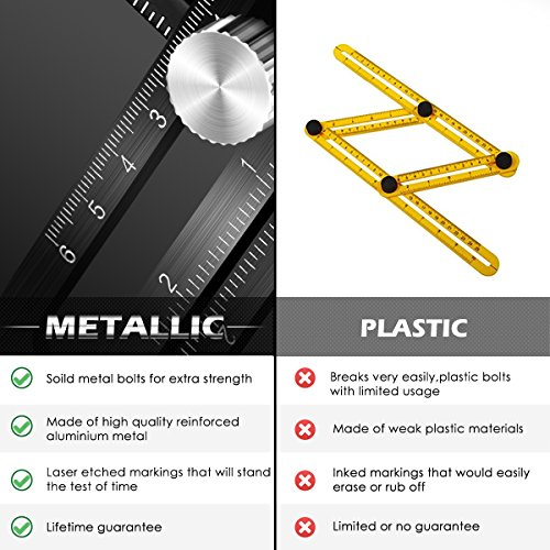 Template Tool Multi Angle Measuring Ruler General Measurement Tool Universal Upgraded Aluminum Alloy Angularizer Ruler for Craftsman Builder Carpenter Architect by XRB (Image #4)