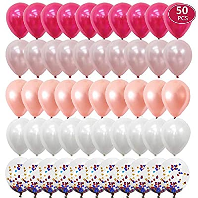 Rose Gold Balloons,Rose Red Balloons Light Pink Balloons,Colorful Confetti Balloons For engagement party Wedding Birthday Baby Shower Party Supplies-50 Pack 12inch: Toys & Games
