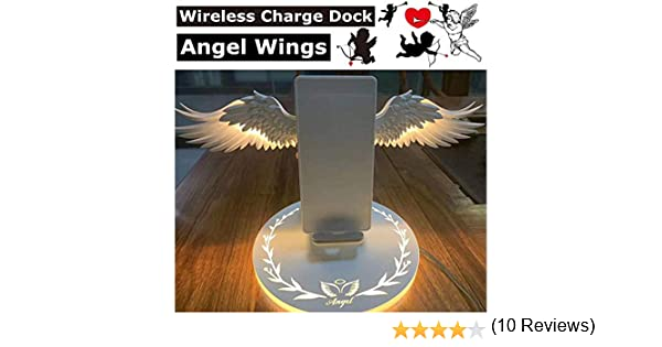 ROWEQPP Angel Wings Qi Wireless Charge Dock 10W 3.0 Fast Charger Type C Replacement for iPhone X XR 8 Plus for Smasung S9 S10 Plus for Huawei