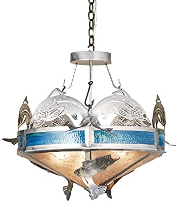 "Meyda Tiffany 68165 Catch Of The Day Trout Inverted Pendant, 27"" Width"