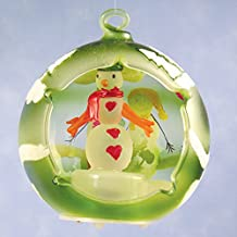 LED Snowman Christmas Ornament Green Frosted Glass Globe LED Color Changing Lights Hand Painted - 4 Inch
