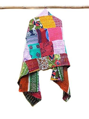 Vintage Kantha Scarf Cotton Sari Stole Women Shawl Hand Stitch Embroidered Wrap patchwork