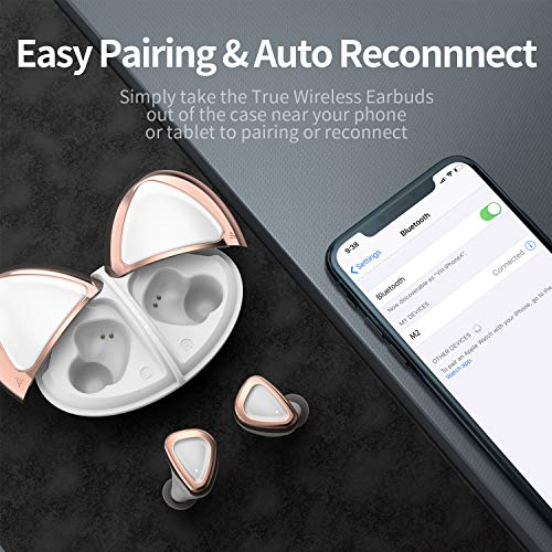Wireless Earbuds, Olistone Bluetooth Earbuds for Sport w/Touch Control/Mono & Twin Modes, in-Ear Bluetooth Earphones, IPX7 Waterproof Bluetooth Headphones for Cellphones/Workout(White)