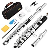 Eastar EPC-3S Black Resin Piccolo Key of C With Silver Plated Keys Hard Case Fingering Chart, Cleaning Rod, Cloth, Swab and Gloves