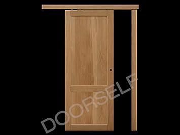 Puerta corredera exterior de pared de madera maciza de roble de alta calidad artesanal 70 x 210 Mod. Minerva.: Amazon.es: Bricolaje y herramientas