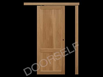 Puerta corredera exterior de pared de madera maciza de roble de ...