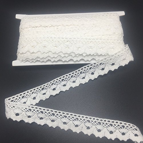 Delicate Lace Trim (ELLAMAMA Cotton Lace Trim DIY Craft Delicate Ribbon Scallop Edge 3/4 Inch Wide 10yds For Gift Wrapping Ribbon Tape, Offwhite)