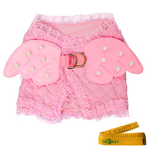 Pink Cute Adorable Pet Cat Dog Harness and Leash Set with Lace Artificial Pearl Angel Wing (Extra Small) by Wiz BBQT (Image #4)