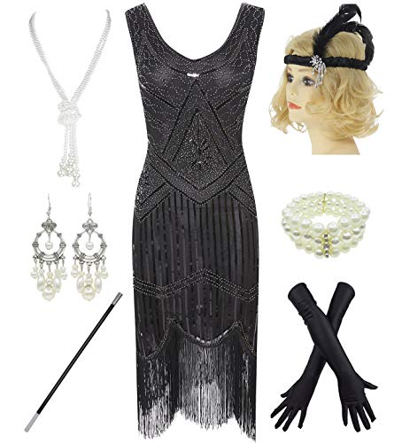 1920s Gatsby Sequin Fringed Paisley Flapper Dress with 20s Accessories Set (M, Black) -