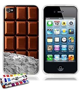 Carcasa Flexible Ultra-Slim APPLE IPHONE 4 de exclusivo motivo [Chocolate] [Transparente] de MUZZANO  + ESTILETE y PAÑO MUZZANO REGALADOS - La Protección Antigolpes ULTIMA, ELEGANTE Y DURADERA para su APPLE IPHONE 4