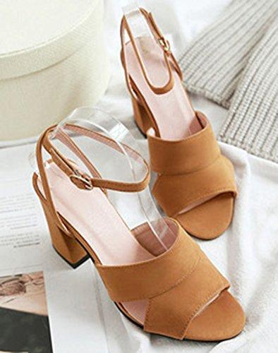 del amarillas sandalias de las toe mujeres estilo con tobillo Aisun de la Las de peep correa dUZIIw