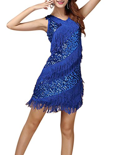 Annes 20 Vintage Dance Dress Robe Moulante Franges Femme Dguisement Costume Saphir Bleu