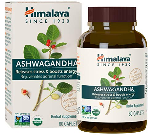 Himalaya Organic Ashwagandha, Adaptogen for Stress-Relief, Cortisol Level Support and Energy Boost, 60 Caplets, 670 mg 2 Month - Licorice Bed Full