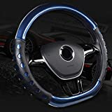 """Mayco Bell D Cut Steering Wheel Cover - D Shaped Flat Bottom Microfiber Leather Anti-Skid Breathable Fit 14.5""""-15"""" (Blue)"""