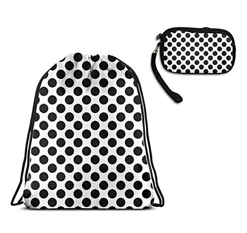 (YongColer Drawstring Bags Backpack Cinch Pouch Sackpack, Purse Cosmetic Bag Zipper Wallet for Gift Travel Sport Gym Beach Storage (Cute Polka Dot, 2 Pieces Set))